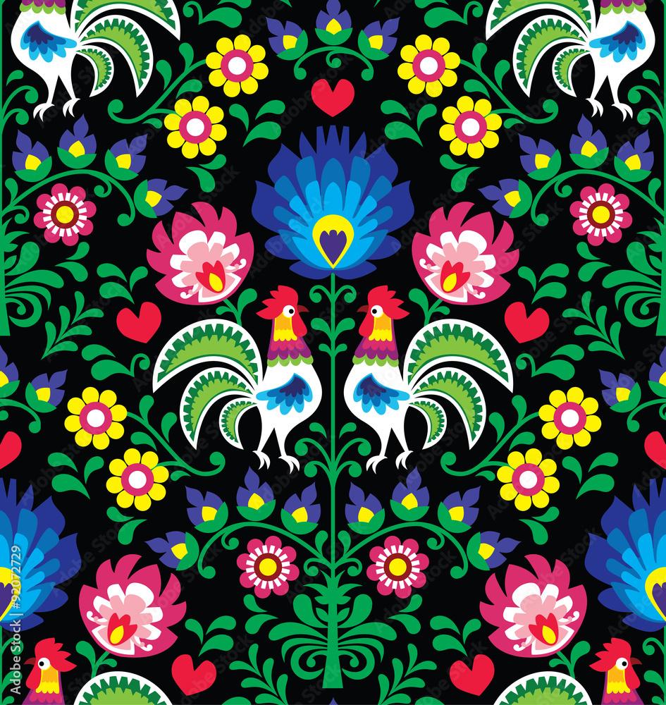 Fototapeta Seamless Polish folk art pattern with roosters - Wzory Lowickie, Wycinanka