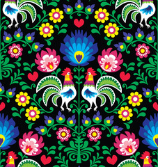 Seamless Polish folk art pattern with roosters - Wzory Lowickie, Wycinanka