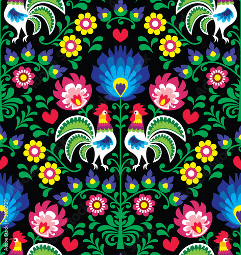 Obraz Seamless Polish folk art pattern with roosters - Wzory Lowickie, Wycinanka - fototapety do salonu
