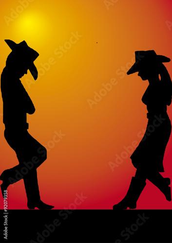 Fotografie, Obraz  Pareja de vaqueros