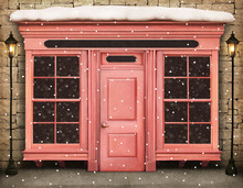 Vintage Winter Background With  Storefront.