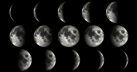 Fototapeta Kosmos Phases of the moon from new to full. Elements of this image furnished by NASA
