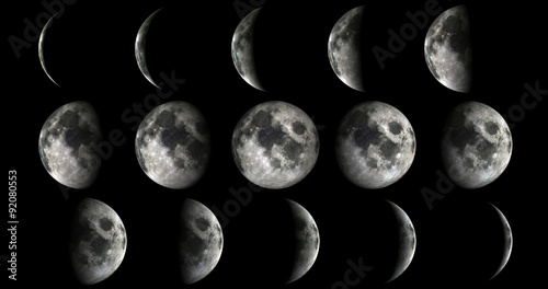 Foto op Aluminium Nasa Phases of the moon from new to full. Elements of this image furnished by NASA
