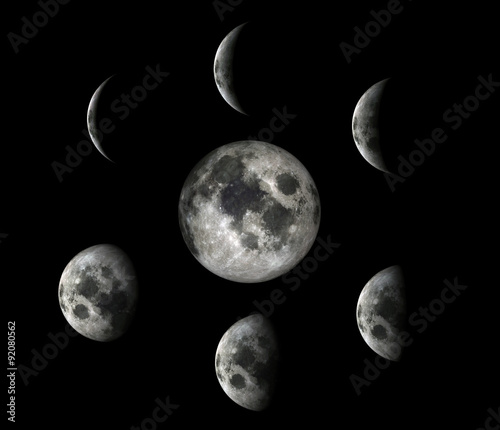 Deurstickers Nasa Full Moon Phases.Elements of this image furnished by NASA