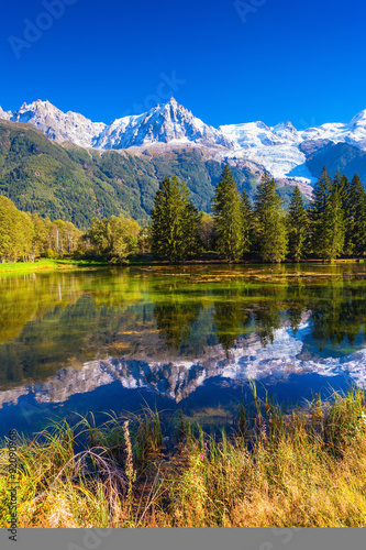 Canvas Prints Reflection Provence. The lake reflected the Alps