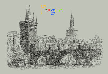Postcard illustration with view of Prague