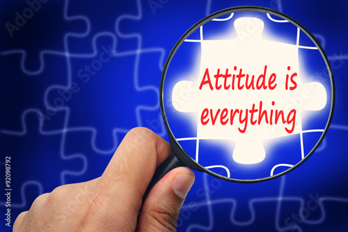 Fotografie, Tablou  Attitude is everything word. Magnifier and puzzles.