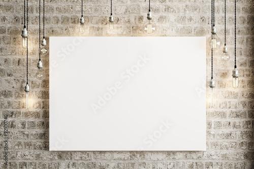 Wyśmienicie plakat z podsufitowymi lampami i nieociosanym ceglanym tłem, fotografii realistyczna 3d ilustracja.