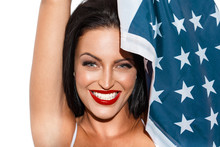 Sexy Brunette Woman With Usa Flag