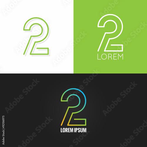 Number two 2 logo design icon set background - Comprar este