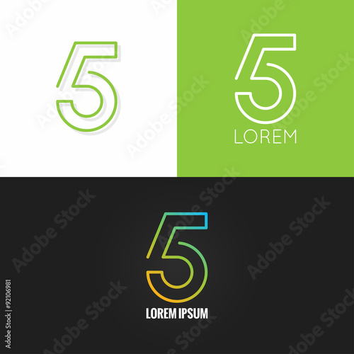Photographie  Number five 5 logo design icon set background