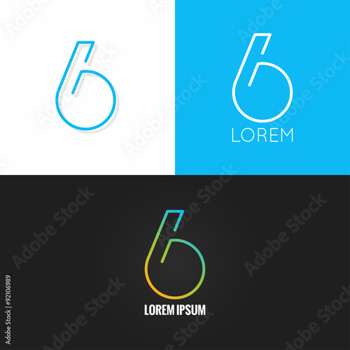 Poster  Number six 6 logo design icon set background