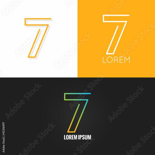 Poster  Number seven 7 logo design icon set background