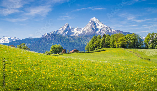 Keuken foto achterwand Alpen Idyllic landscape in the Alps with green meadows and farmhouse