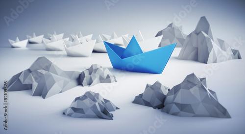 Fotografie, Obraz  Papierschiffe zwischen Felsen