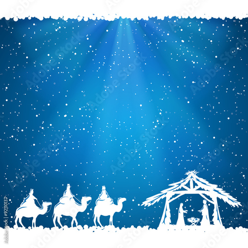 Fotografie, Obraz  Christmas theme on blue background