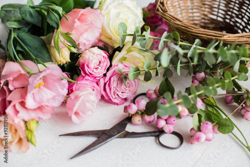 Fotobehang Bloemen florist's workplace