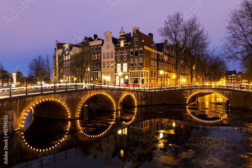 Photo  Beautiful view on the canals of Amsterdam, an Unesco world heritage site, in the