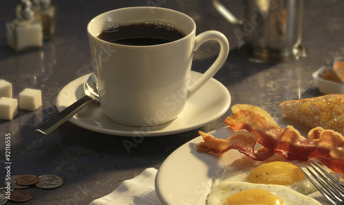 Breakfast at the diner: coffee, eggs and bacon