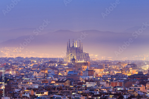 Twilight top of view Barcelona Canvas Print