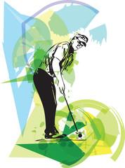 Panel Szklany Golf Man playing golf