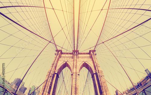 Vintage filtered fisheye picture of Brooklyn Bridge, NYC. #92131775