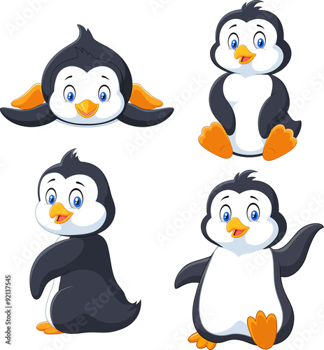 Fotografie, Obraz  Collection of cartoon penguin isolated on white background