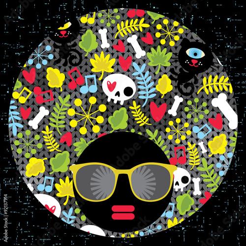 Foto op Plexiglas Art Studio Black head woman with strange pattern hair.