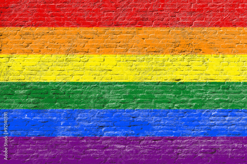 Lgbt flag on Brick wall Fototapeta
