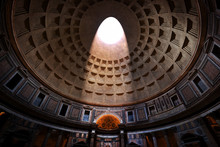 The Pantheon, Rome, Italy. Lig...
