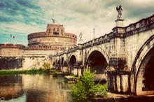 Castel Sant'Angelo, Rome, Italy. Tiber River And The Sant'Angelo Bridge