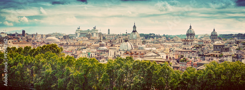 Panorama of the ancient city of Rome, Italy. Vintage Wallpaper Mural