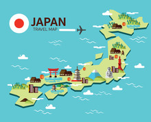 Japan Landmark And Travel Map. Flat Design Elements And Icons.