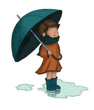 Nño O Niña Con Paraguas En U...