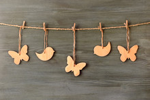 Wooden Butterflies And Birds On A String