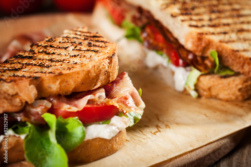 Fotobehang Snack Sandwich with bacon