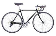 Black Vintage Road Bike Isolated