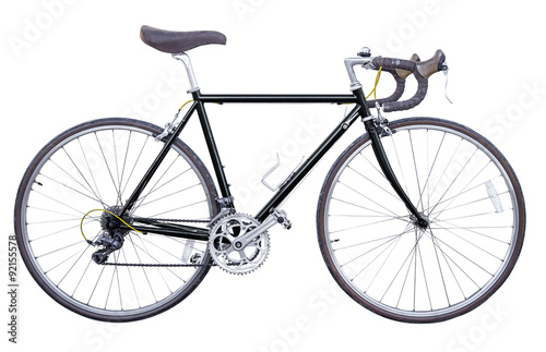Foto op Plexiglas Fiets black vintage road bike isolated