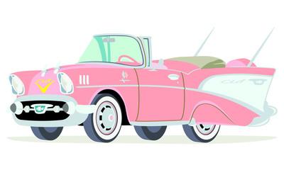 Caricatura Chevrolet BelAir 1957 convertible abierto rosado vista frontal y lateral