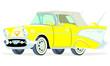Caricatura Chevrolet BelAir 1957 convertible cerrado amarillo vista frontal y lateral