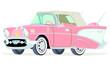 Caricatura Chevrolet BelAir 1957 convertible cerrado rosado vista frontal y lateral