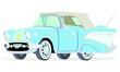 Caricatura Chevrolet BelAir 1957 convertible cerrado azul vista frontal y lateral