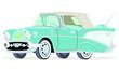 Caricatura Chevrolet BelAir 1957 convertible abierto azul vista frontal y lateral