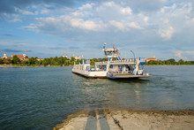 Transport Ferry On The Danube River