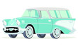 Caricatura Chevrolet BelAir 1957 Nomad aguamarina vista frontal y lateral