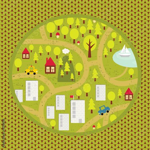 Deurstickers Op straat Cartoon map pattern of small town and countryside.