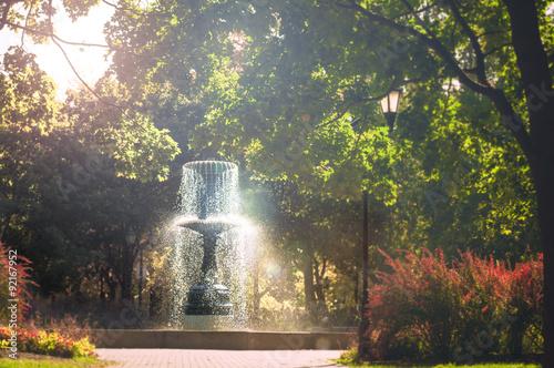 Autocollant pour porte Fontaine The sparkling fountain in the autumn light