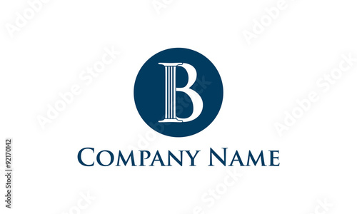 Combination logo from letter B with pillar on the circle logo design concept