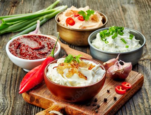 Valokuva  various dip sauces
