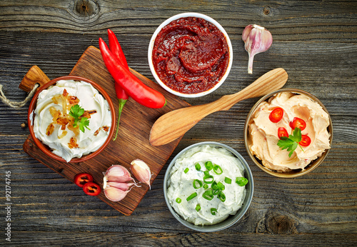 various dip sauces Canvas Print